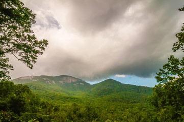 table top mountain with stormy clouds in south carolina