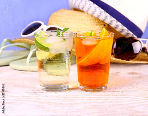 Elderflower, Orange cocktails with holiday background