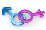 Male and female glass symbols