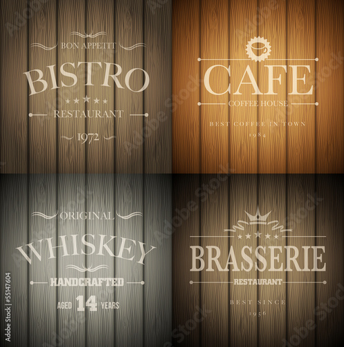 Emblems on wood texture
