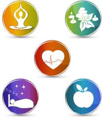 Healthy heart, healthy food, good sleep, yoga, spa therapy.