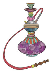 Colored hookah with patterns. vector