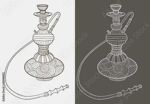 Two hookah. Pattern. Doodle.  Vector illustration