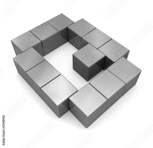 letter Q cubic metal