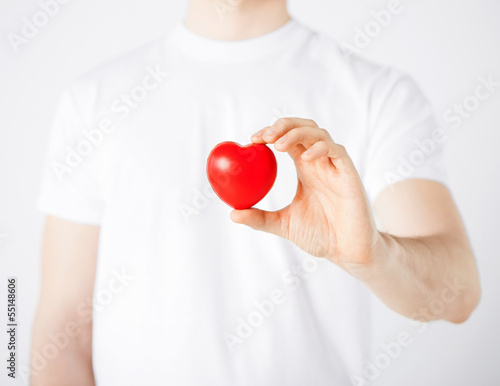 man hands with heart