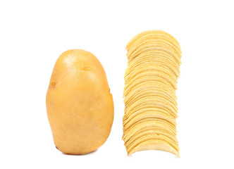 Potato and stack of chips.