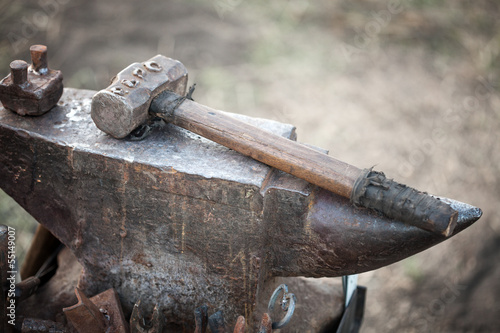 hammer on blacksmith anvil