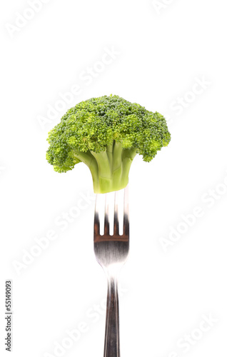 Broccoli impaled on a fork.