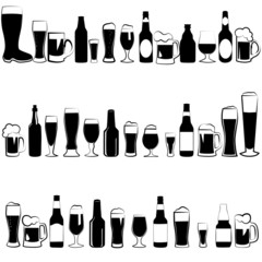 beer glasses. beer bottle.