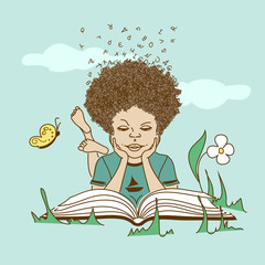 Illustration with boy lying on the grass and reading a book