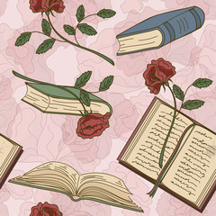 Seamless pattern of books and flowers