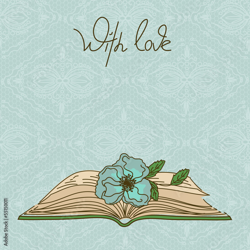 Card or invitation with book and flower
