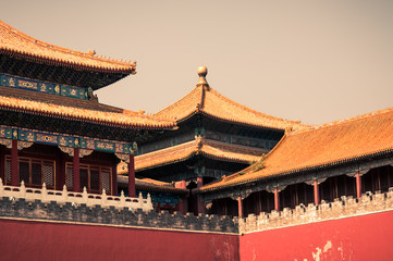 Detailed closeup of the architecture at the Forbidden City.