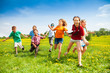 Group of happy running kids