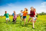 Group of happy running kids