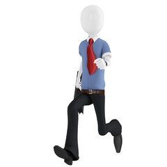 3d man running with briefcase