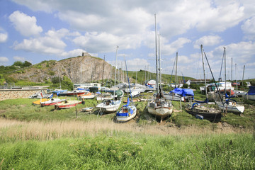 Boats along river Axe, Somerset
