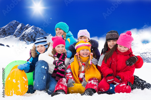 Large group of kids on winter day