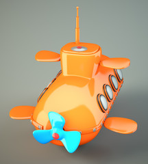 Cartoon-styled submarine