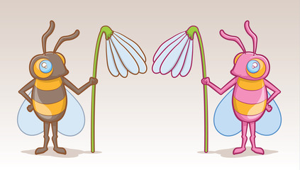 Cute boy and girl Bee Cartoons Holding Flowers