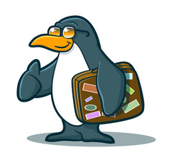 Illustration of a cute penguin holding a suitcase