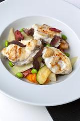 Lotte, poisson, magret, plat cuisiné, recette, légumes