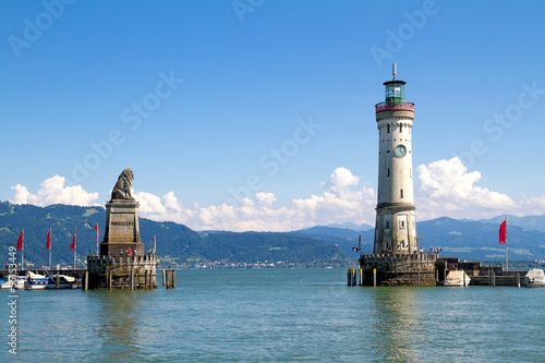 City on the water Harbour of Lindau in Lake Constance, Germany