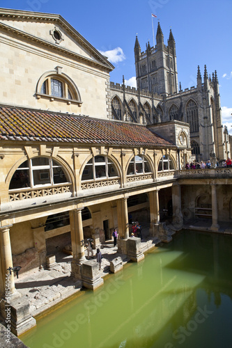 Roman Baths and Bath Abbey in Somerset
