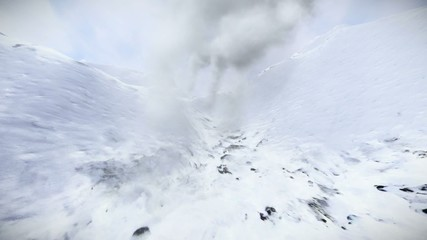 Climbing snowy mountain - extreme weather