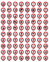 Big set of useful and unusual prohibited signs, vector