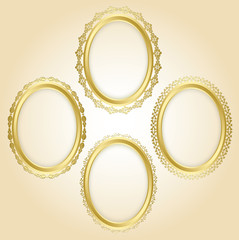 beautiful gold oval decorative frames - vector set