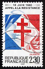 Postage stamp France 1990 Lorraine Cross