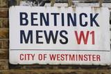 Bentinck Mews Street Sign poster