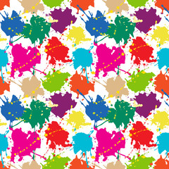 Seamless pattern: colored ink or paint blots