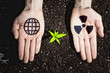 Human hands and ecology symbols
