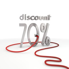 discount icon connected with a network cable