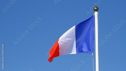Flag of France, waving on the sky