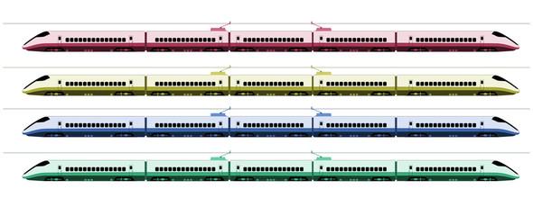 Shinkansen bullet train at Japan railway colors