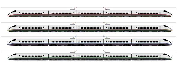 Shinkansen bullet train 4 colors