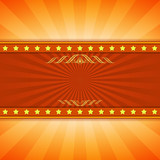 Yellow and red entertainment ray burst vector background with co poster
