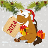 horse symbol of 2014 year -  vector illustration