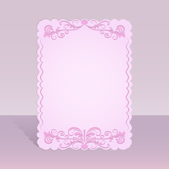 Figured pink card with floral ornament