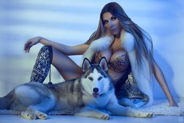 Bikini Model with siberian husky