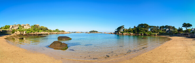 Ploumanach panorama, rocks and bay beach, Brittany, France.