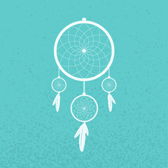 Dreamcatcher on turquoise background
