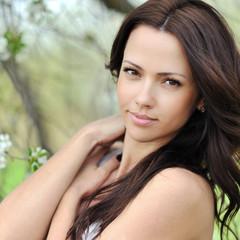 Young beautiful woman face - closeup