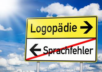Wegweiser mit Logopädie und Sprachfehler