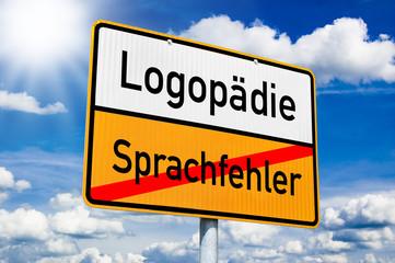 Ortseingangsschild mit Logopädie und Sprachfehler