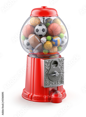 Gumball machine with sport balls