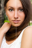 Face of beautiful woman before and after retouch. poster